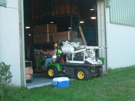 Environmental investigation inside a manufacturing facilty using an ATV mounted Earth Probe.